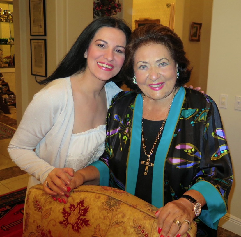 Virginia Zeani with Angela Gheorghiu in August 2014